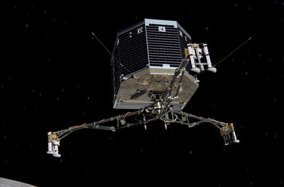 """Kosminio aparato """"Philae"""" nusileidimas ant kometos paviršiaus dailininko akimis"""