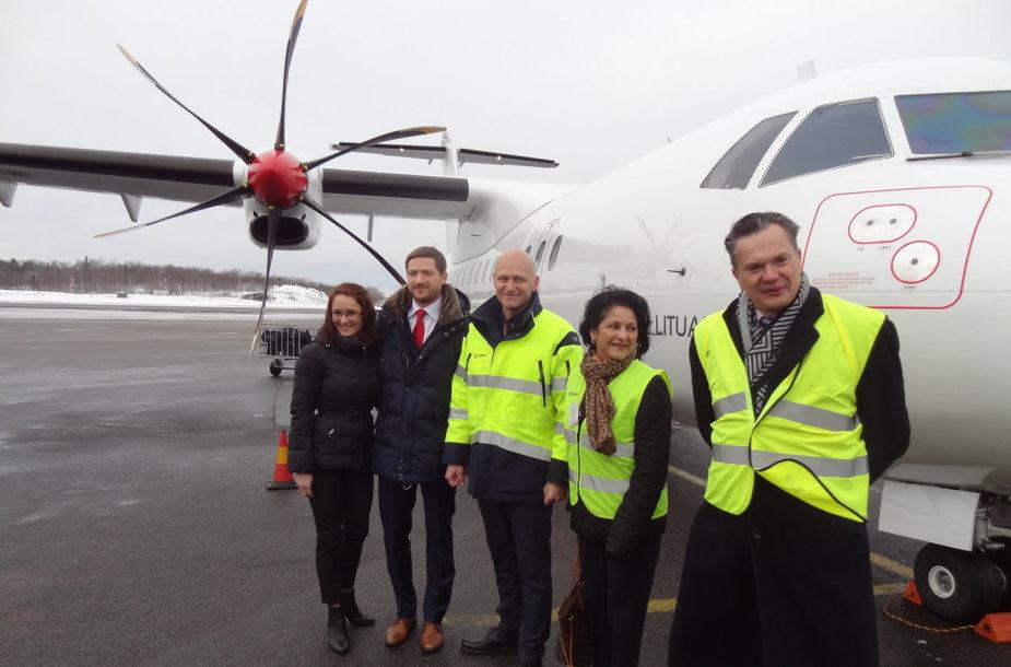 """Pirmasis """"Air Lituanica"""" lėktuvas Bromos oro uoste"""