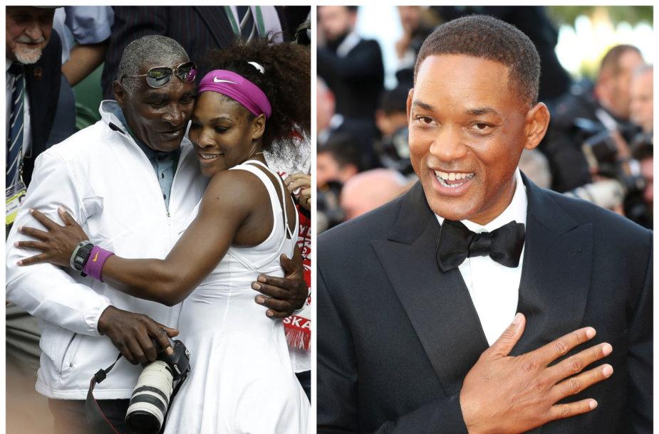 Richardas Williamsas su dukra Serena Williams ir Willas Smithas
