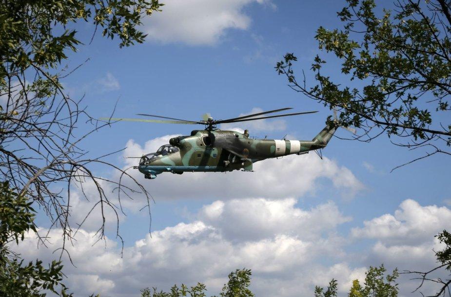 """Ukrainos """"Mi-24"""" karinis sraigtasparnis"""