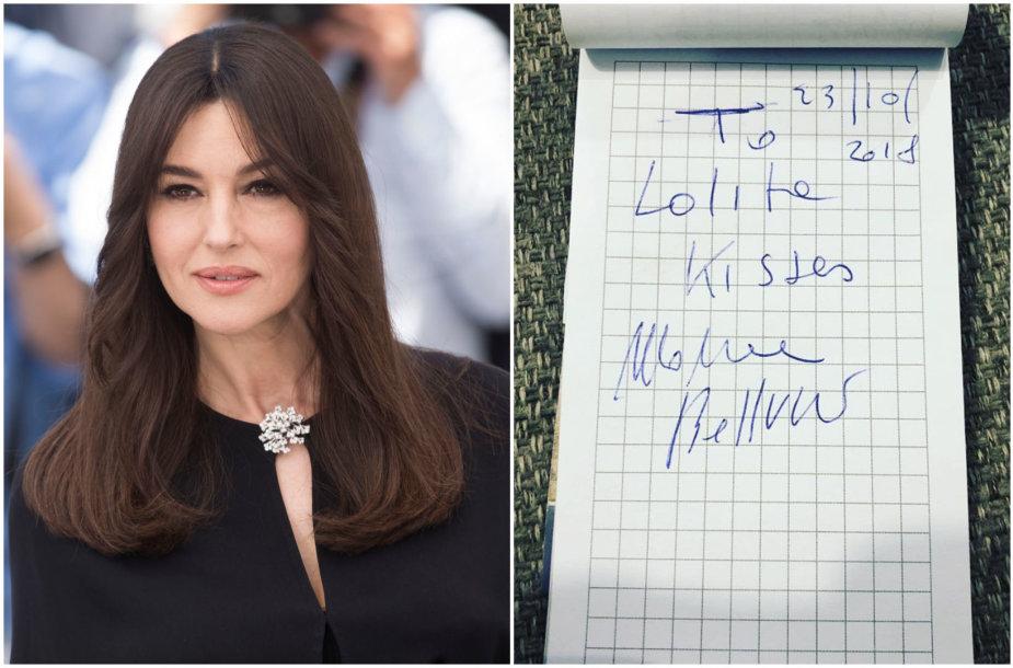 Monica Bellucci ir jos autografas