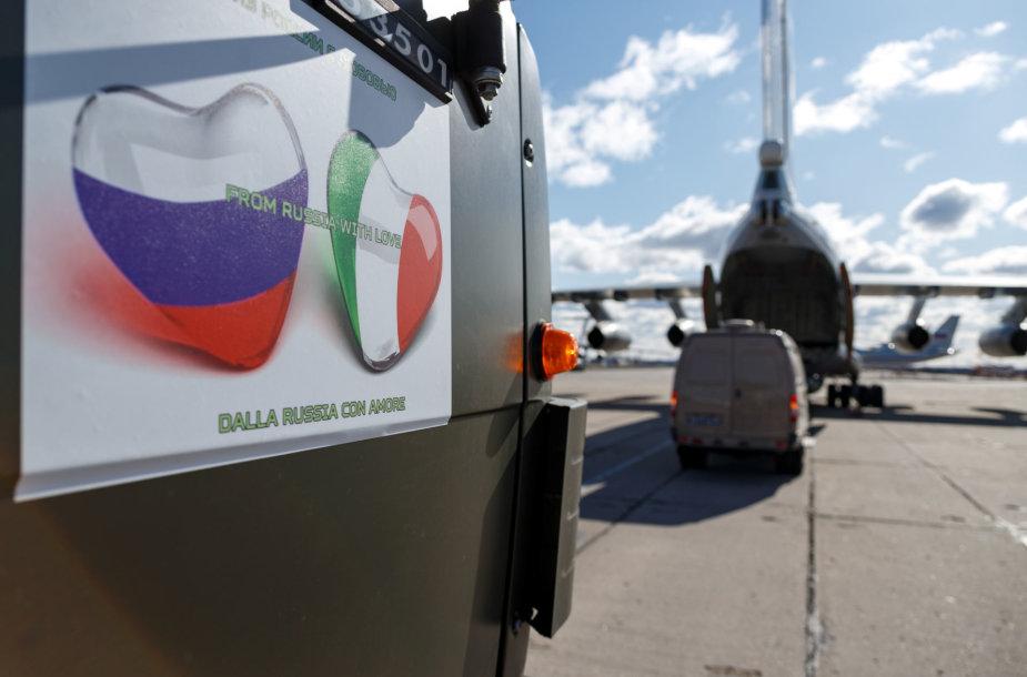 Rusija nusiuntė pagalbą Italijai