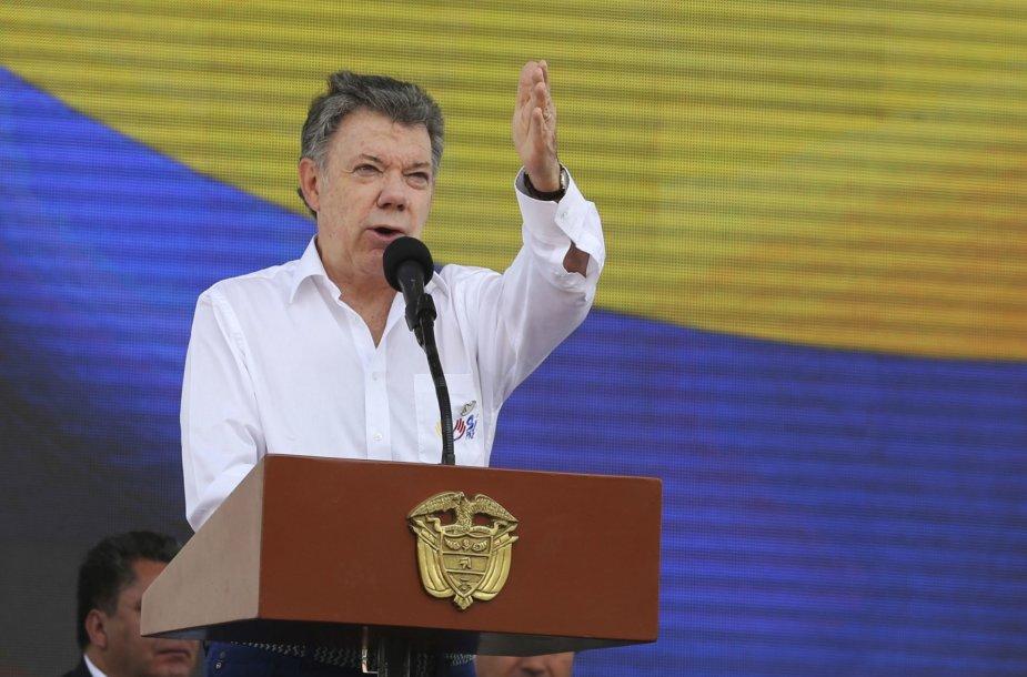 Juanui Manueliui Santosui premija skirta už pastangas nutraukti pusę šimtmečio Kolumbiją krečiantį konfliktą su sukilėlių grupuote FARC