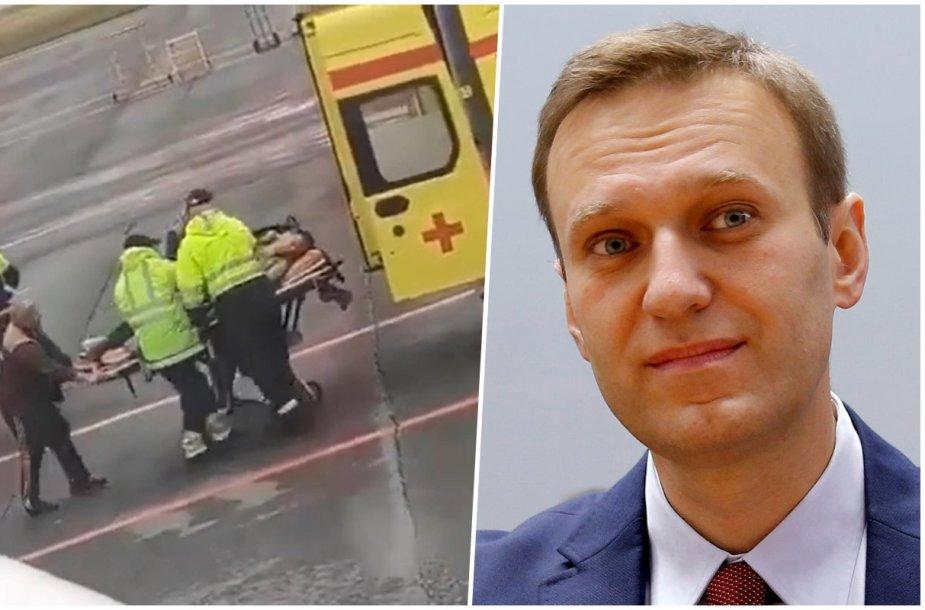Aleksejus Navalnas išgabenamas į Omsko ligoninę