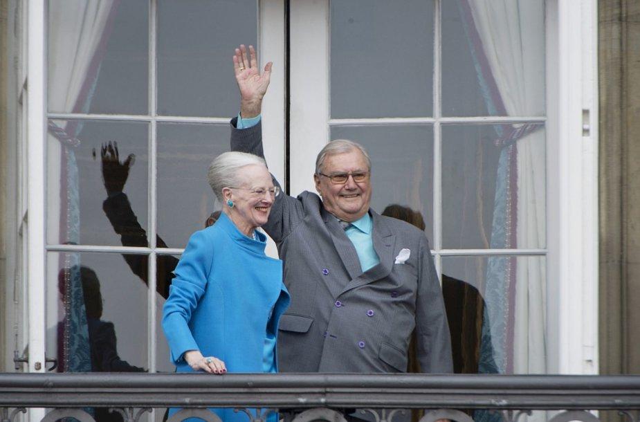 Danijos karalienė Margrethe su vyru princu Henriku