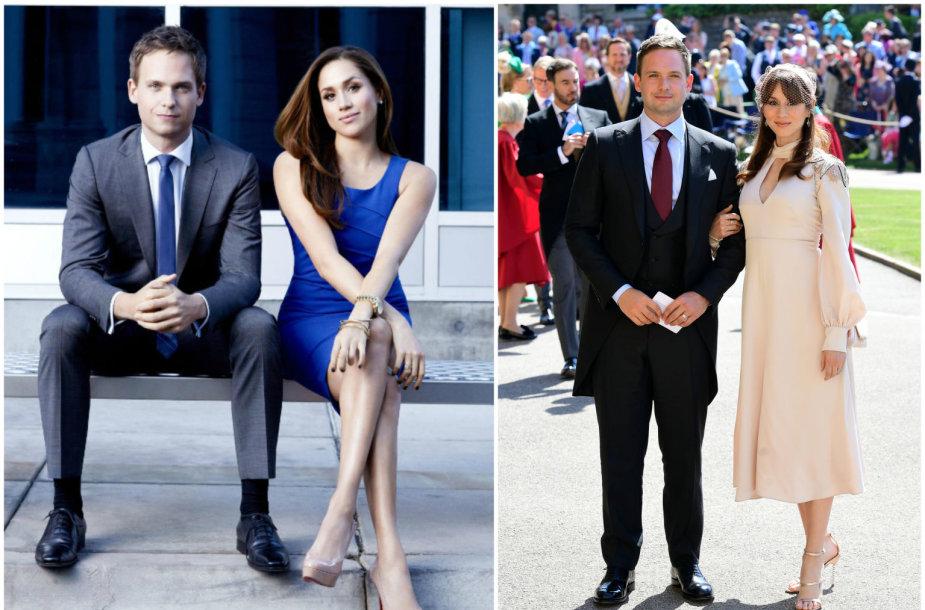"""Patrickas J. Adamsas su Meghan Markle seriale """"Kostiumuotieji"""" ir karališkosiose vestuvėse su žmona Troian Bellisario"""