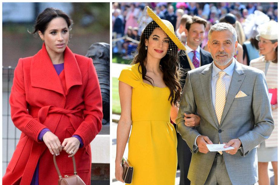 Sasekso hercogienė Meghan ir George'as bei Amal Clooney per karališkąsias vestuves