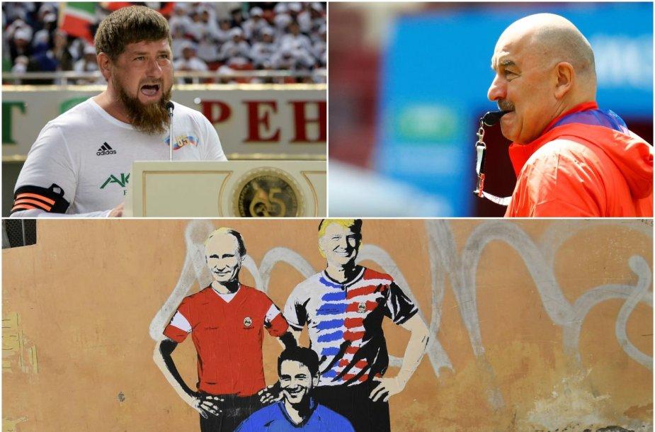Rusijai laukiant pasaulio futbolo čempionato, dainoje siūlomą trenerį S.Čerčesovą (dešinėje) keisti R.Kadyrovu.