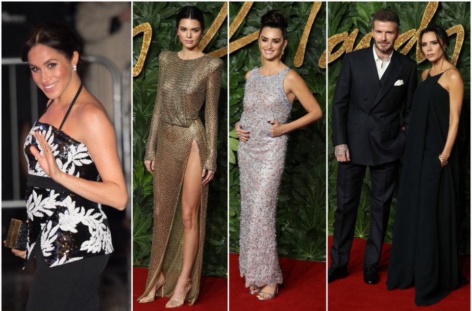 Sasekso hercogienė Meghan, Kendall Jenner, Penelope Cruz ir Davidas bei Victoria Beckhamai