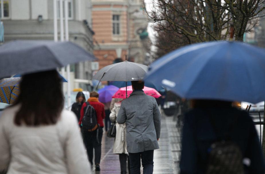 Pavasarinis lietus Vilniuje