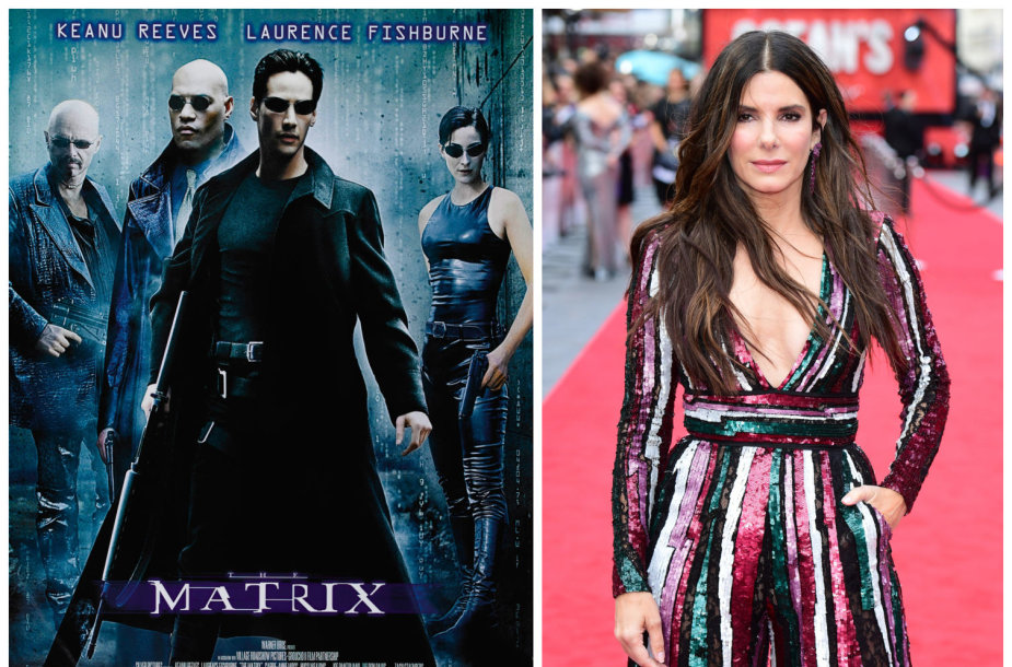 """Filmo """"Matrica"""" afiša ir aktorė Sandra Bullock"""