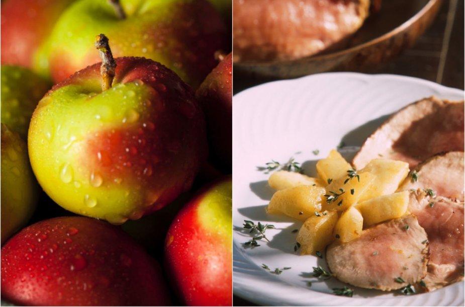 Kiaulienos nugarinė su obuoliais