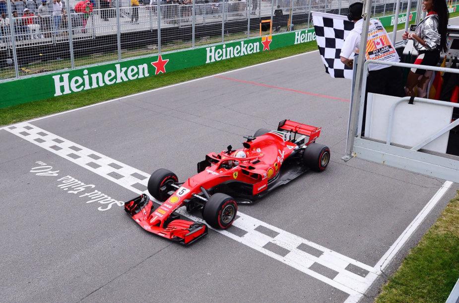 Sebastianas Vettelis iškovojo pergalę Kanados F1 trasoje