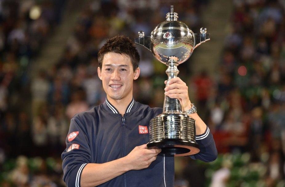 Kei Nishikoris antrą kartą laimėjo turnyrą Japonijoje