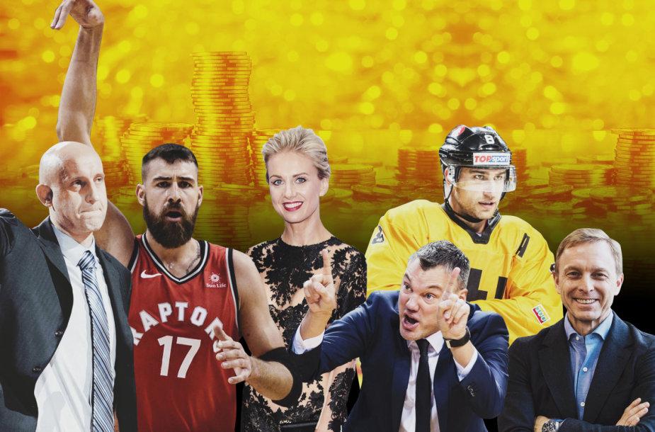 """Žurnalo """"Top"""" sudarytame turtingiausių Lietuvos žmonių reitinge daug sporto asmenybių (iš kairės): Ž.Ilgauskas, J.Valančiūnas, M.Vžesniauskaitė, Š.Jasikeviičus, D.Zubrus, E.Skrabulis."""