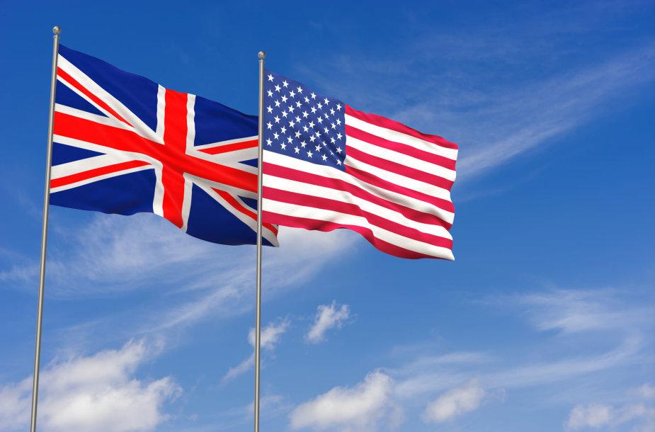 Jungtinės Karalystės ir JAV vėliavos