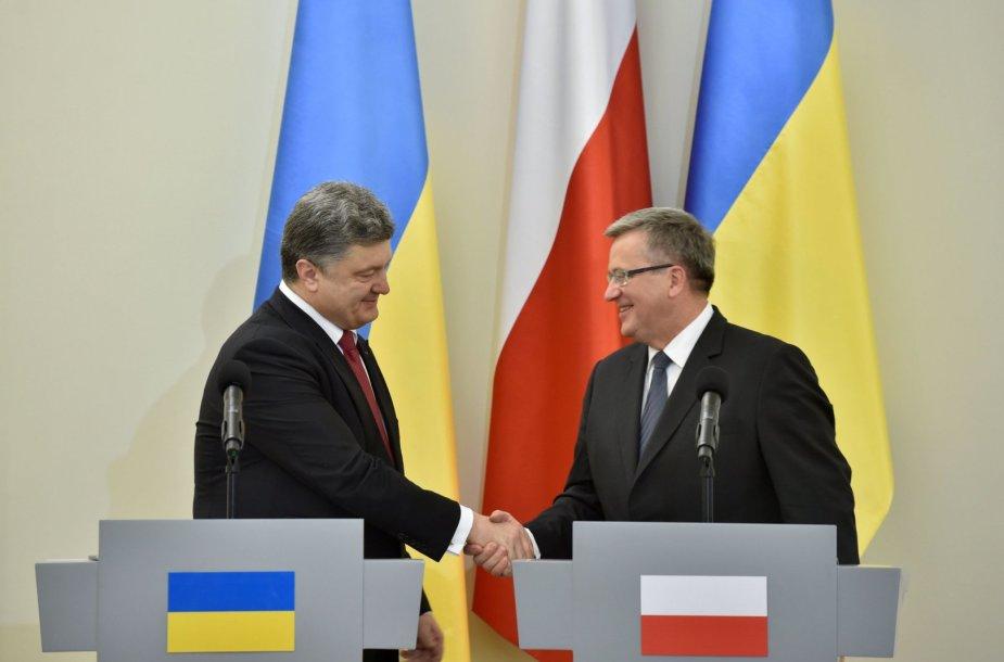 Petro Porošenka ir Bronislawas Komorowskis Varšuvoje