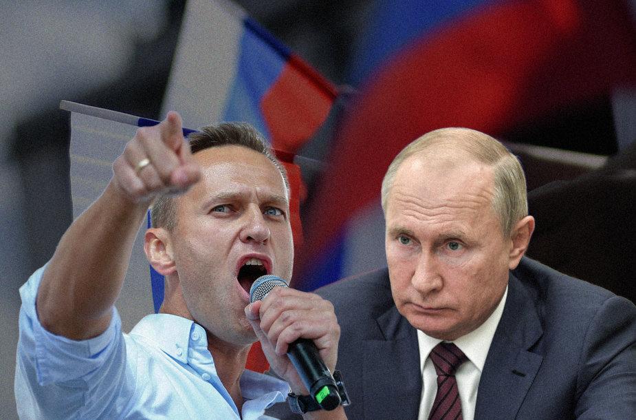Aleksejus Navalnas ir Vladimiras Putinas