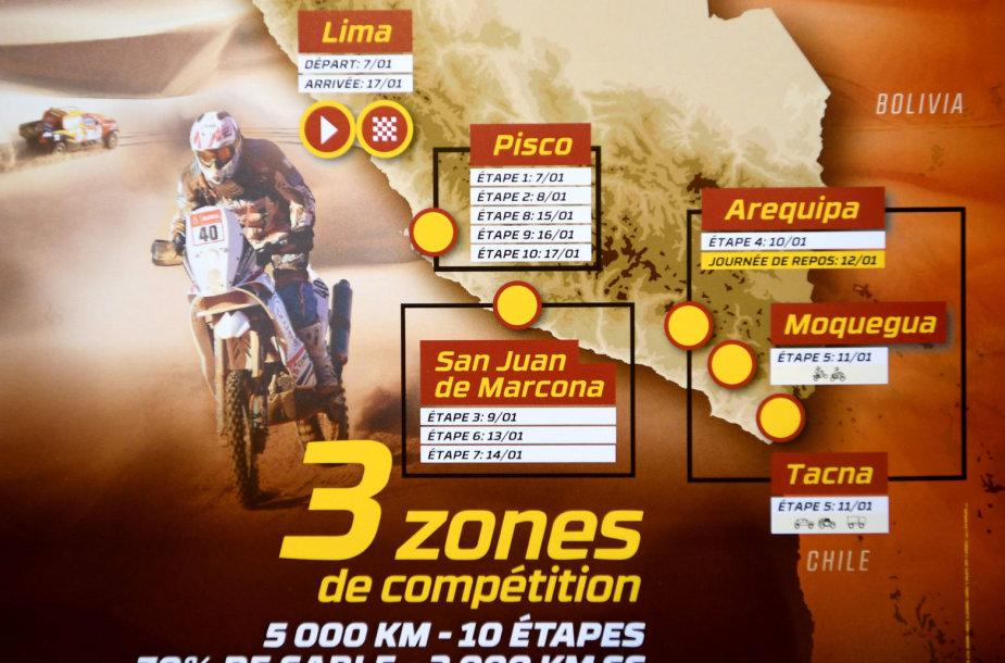 2019 m. Dakaro ralio žemėlapis: 100 proc. Peru