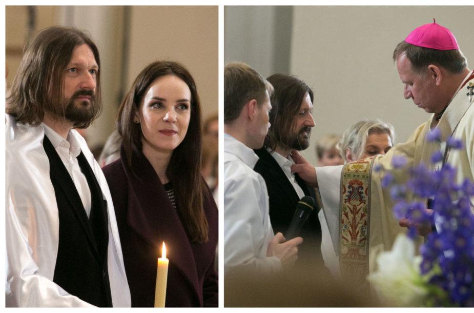 Mindaugas Valiukas su žmona, aktore Valda Bičkute; krikštynų akimirka