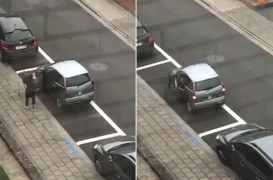 Kankinamai stropus automobilio parkavimas Belgijoje
