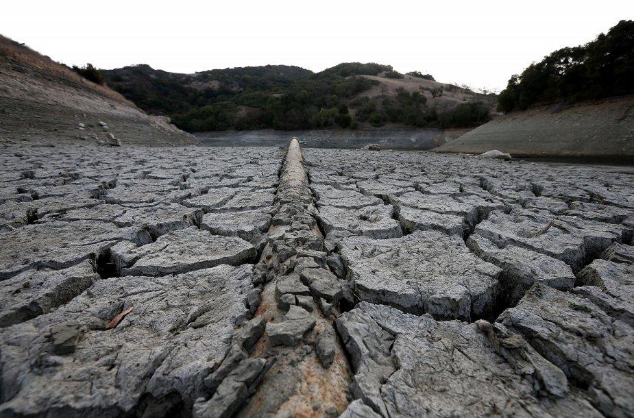 Išdžiūvęs Almadeno tvenkinys Kalifornijoje