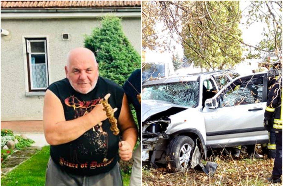 """Asociatyvi iliustracija: E.Ušackas ir avariją patyręs """"Honda C-RV"""" visureigis"""