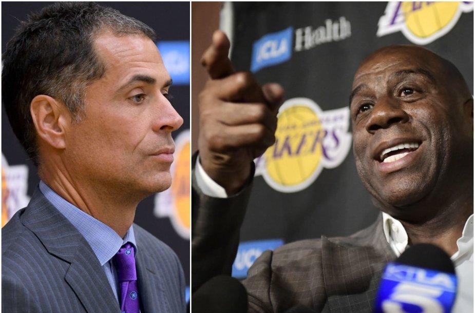 """""""Los Angeles Lakers"""" vadovas Robas Pelinka (kairėje) sulaukė Magico Johnsono priekaištų."""