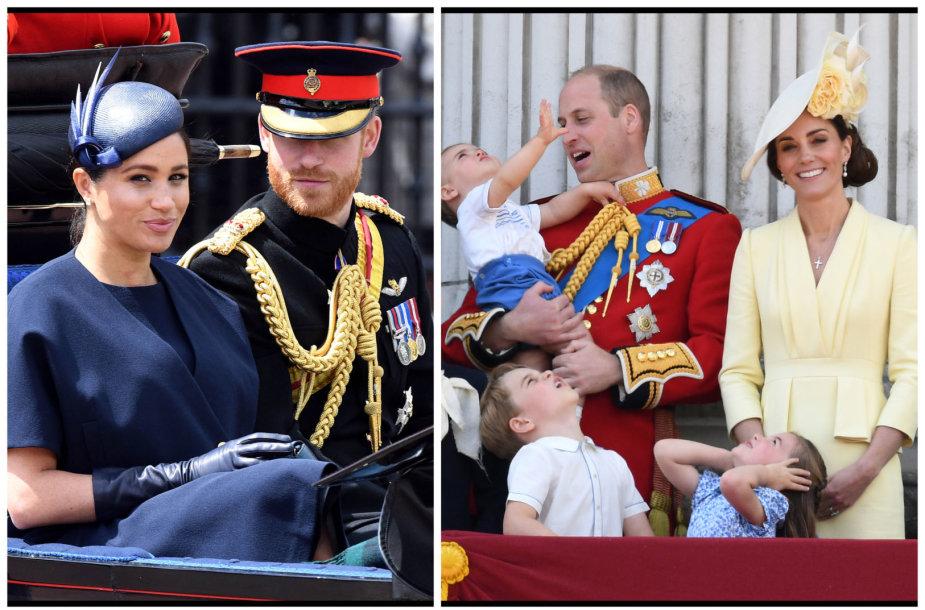 Princas Harry su žmona Meghan, Princas Williamas su šeima