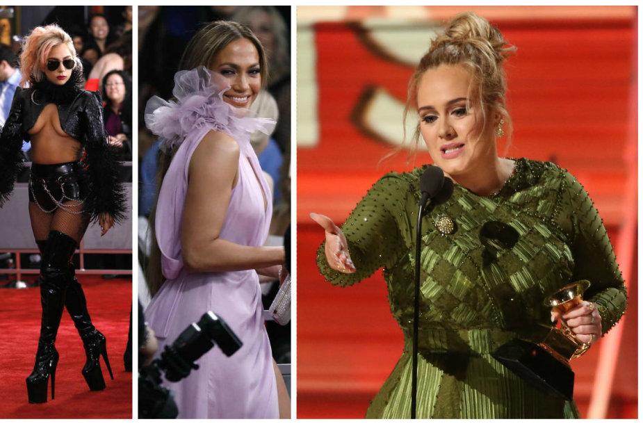 Lady Gaga, Jennifer Lopez ir Adele