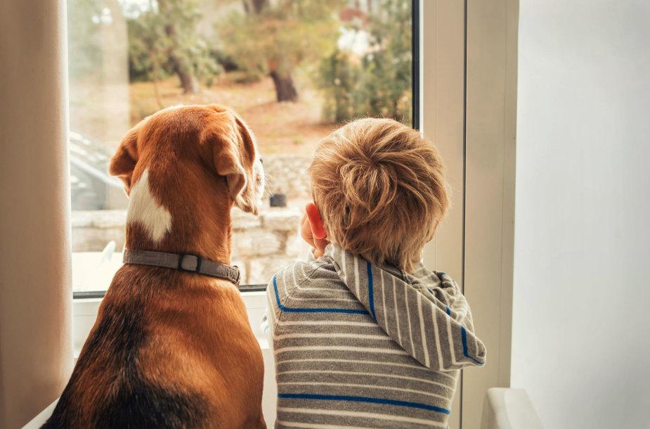 Vaikas su šunimi.