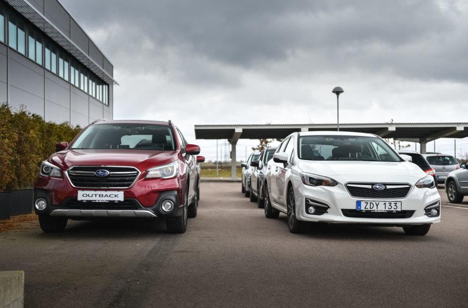 """""""Subaru Impreza"""" ir """"Subaru Outback"""" bandymai Švedijoje"""