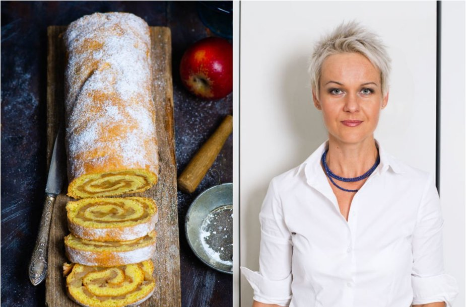 Nida Degutienė ir jos keptas obuolių pyrago vyniotinis