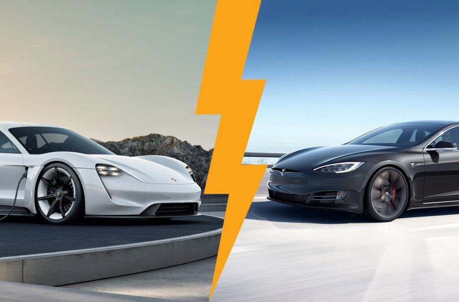 Porsche Taycan ir Tesla Model S
