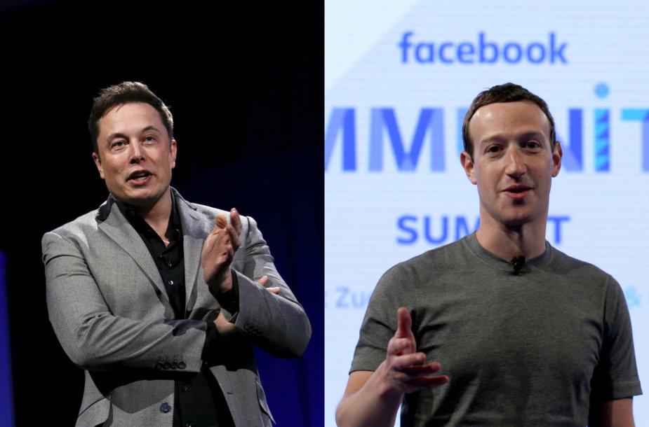 Elonas Muskas ir Markas Zuckerbergas