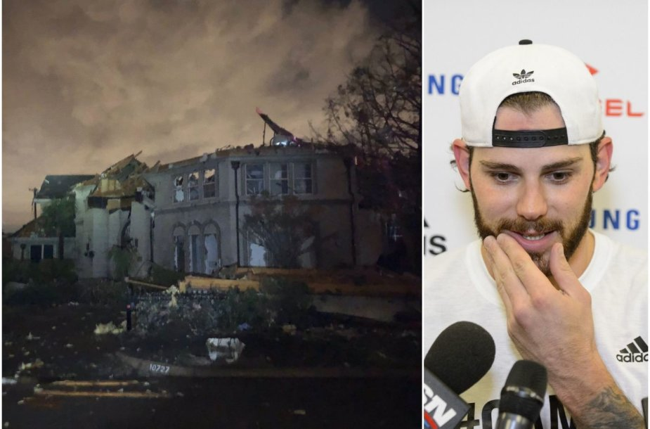 Tyleris Seguinas nenukentėjo, bet jo namas buvo smarkiai apgriautas viesulo Dalase.