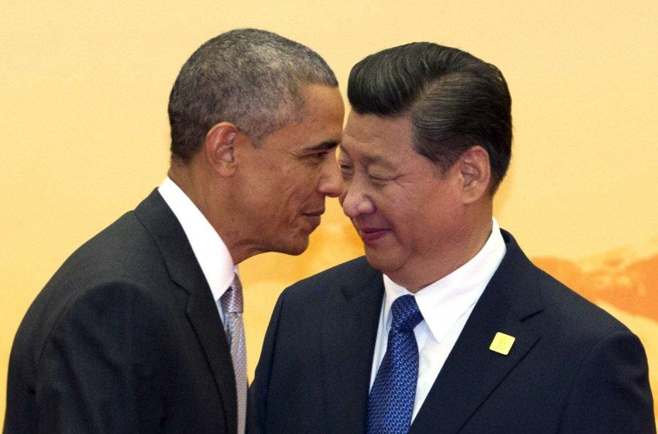 JAV prezidentas Barackas Obama ir Kinijos prezidentas Xi Jinpingas