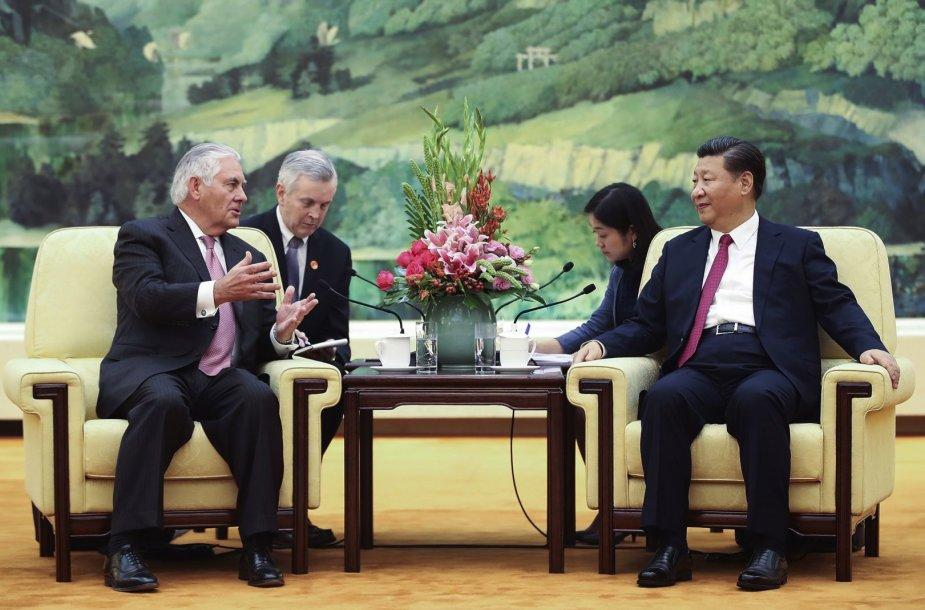 R.Tillersonas ir Xi Jinpingas susitikimo metu