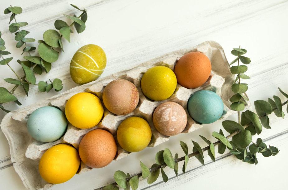 Natūraliomis priemonėmis marginti kiaušiniai