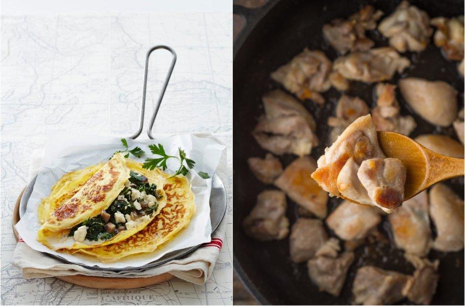 Gurmaniškas omletas ir vištienos gabalėliai