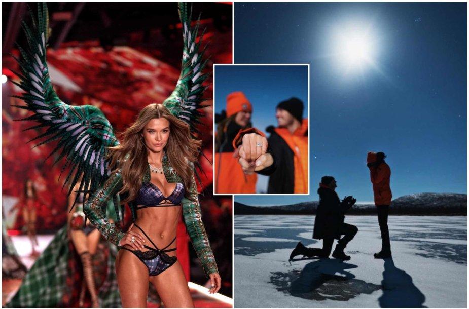 """""""Victoria's Secret"""" angelo Josephine Skriver ir muzikanto Alexanderio DeLeono sužadėtuvės"""
