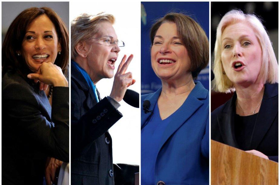 Kamala Harris, Elizabeth Warren, Amy Klobuchar ir  Kirsten Gillibrand
