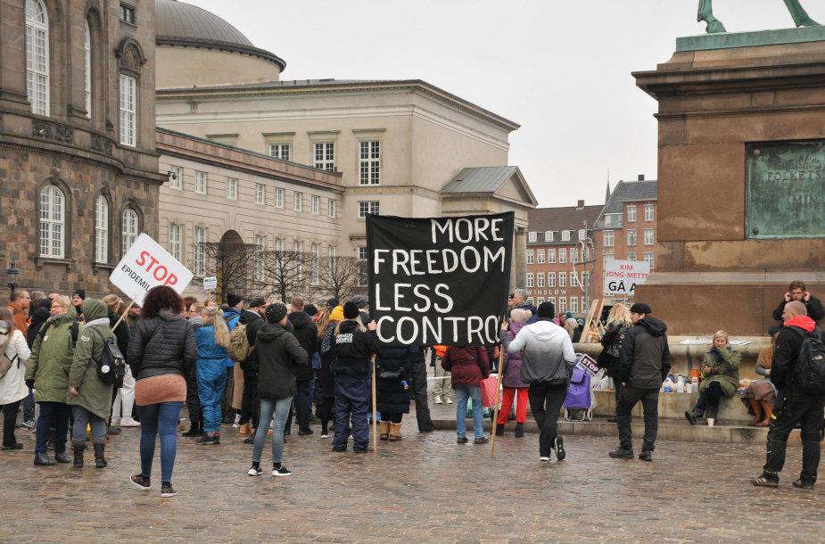Protestas prieš karantiną Kopenhagoje