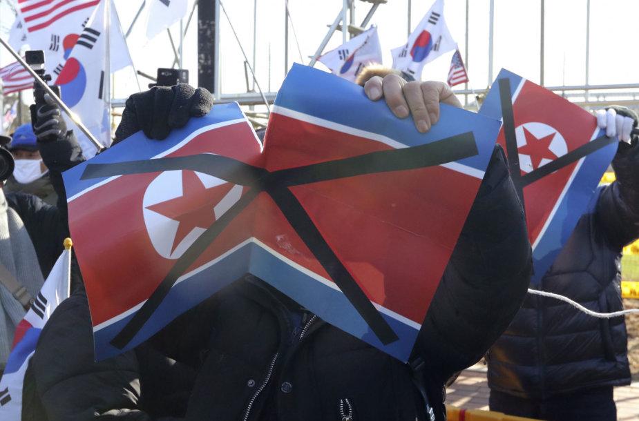 Pietų Korėjos protestuotojai