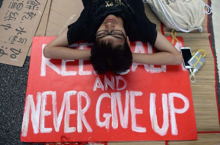 Protestuotojas Honkonge