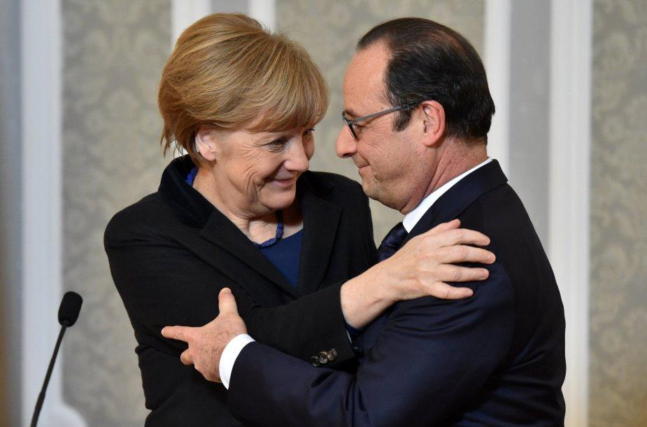 Vokietijos kanclerė Angela Merkel ir Prancūzijos prezidentas Francois Hollande'as