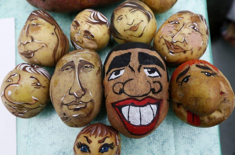 Ant bulvės nupiešti Vladimiro Putino ir Barako Obamos šaržai