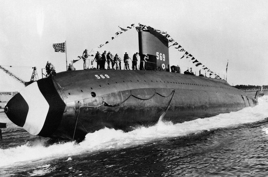 USS Albacore – itin greitas eksperimentinis povandeninis laivas, galėjęs pasiekti didesnį nei 61 km/val. greitį. (U.S. Navy, Wikimedia)