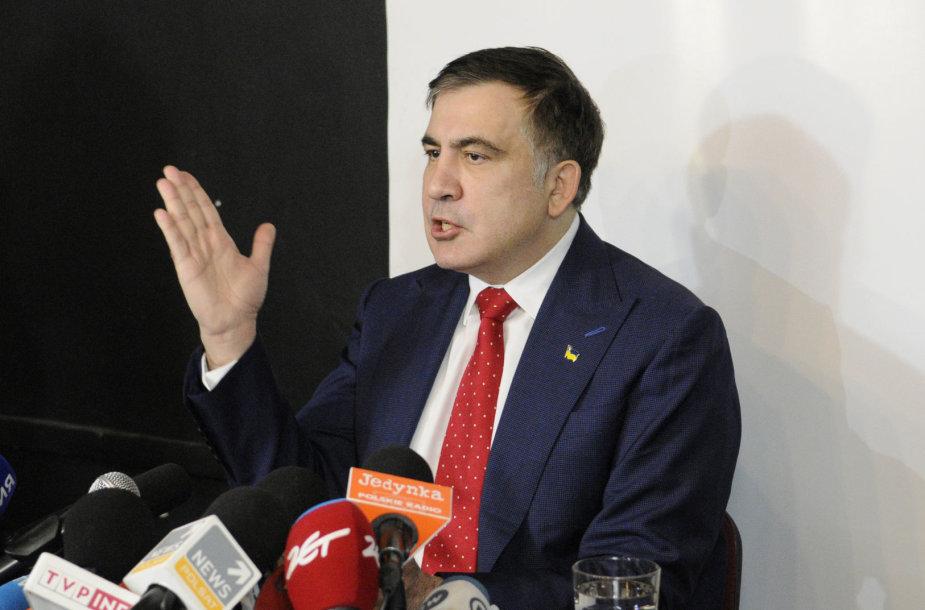 Michailas Saakašvilis Lenkijos sostinėje Varšuvoje
