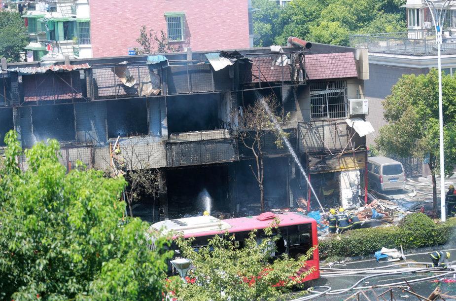Dujos sprogo rytinio Hangdžou miesto restorane